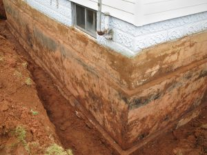 Basement repair exposed foundation