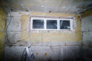 unfinished basement wall